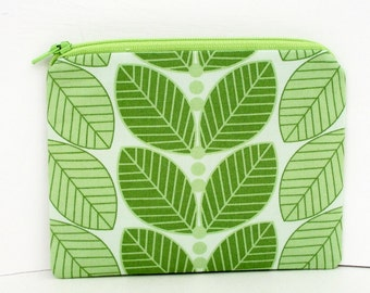 Green Small Zipper Pouch, Fresh Sage Leaf, Coin Purse