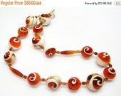40% off Orange and White Shell Necklace - Shell Jewelry - Womens Necklace - Orange Jewelry - Unique Shell Necklace - Beach Jewelry - Gift fo