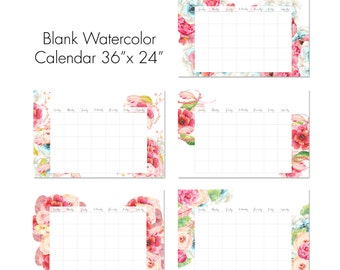 "36"" x 24"" Blank Watercolor Floral Calendar. Instant Printable Wall Calendar. X-Large Poster Size Calendar. Set of 5. Re-useable under glass"
