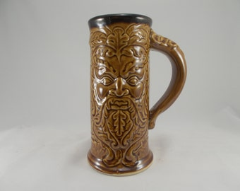 Greenman Tankard, Stein, Beer Mug with Original Design Fantasy Artwork for Holiday Gifting, Cosplay, LARP Costuming, Festival, Table, Bar
