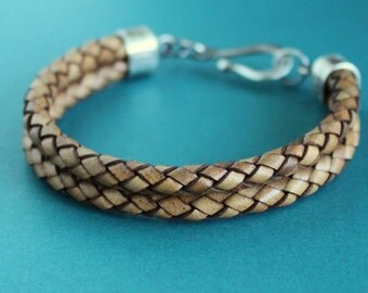 Mens Leather Bracelet, Double Braid Light Brown, Sterling Silver