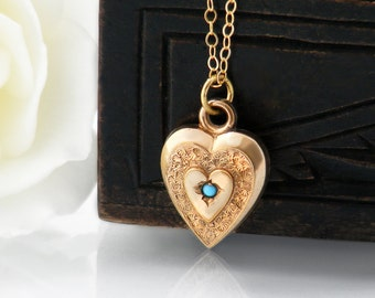 Victorian Rose Gold & Turquoise Heart Pendant | Antique Heart Pendant, Turquoise Cabochon Gold Puffy Heart Necklace - 18 Inch Chain Included