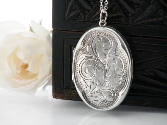 Vintage Sterling Silver Locket Necklace | Engraved Large Oval Locket | 1970s Silver Quatrefoil Locket - 30 Inch Long Sterling Silver Chain