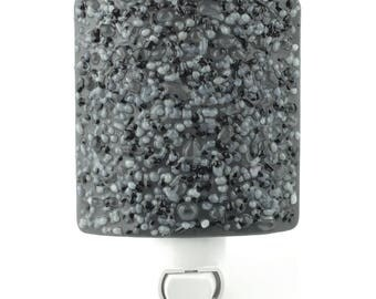Night Light, Gray and Black Stone Look, Art Glass