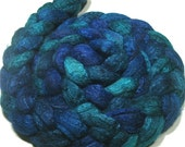 BFL & tussah silk roving hand dyed - hand painted spinning felting fiber - 4.8 oz Whirlpool - combed wool top - aqua blue teal fibre