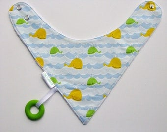 Baby Bandana Bib With an Attached Food Safe Silicone Teether, Whales, Reversible  Minky Lined