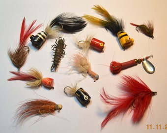 12 vintage fishing Lures lot,Jigs, Natural Horsehair, Feathers, Hand wrapped, Vintage Hand Made Homemade, and Store Bought 60's to 80's