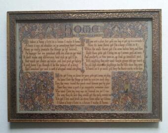 """Framed 1930's Edgar A. Guest """"HOME"""" - Beautiful Frame"""