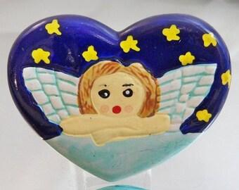FALL SALE Vintage Angel Brooch. Cherub in Blue Heart Brooch.  Starry Night Porcelain Angel Pin.  Holiday Pin. Christmas Brooch.