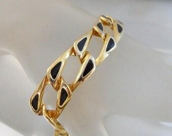 ON SALE Vintage Black and Gold Bracelet.  Gold Tone. Black Enamel Link Bracelet.