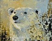 Polar bear Original oil painting 10x8inch