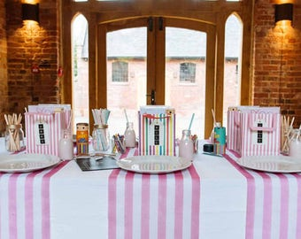 Baby Pink and White Striped Table Runners, Dinner Table, Pink Baby shower, birthday party,