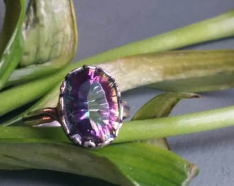 Mystic Topaz Ring, Genuine Gemstone Ring, Gemstone Ring, Statement Ring, Mystic Rainbow Topaz Ring, Leaves and Spirals Ring, Spring Gifts