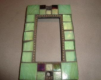 MOSAIC Outlet Cover or Switch Plate, GFI Decora, Wall Plate, Wall Art, Green