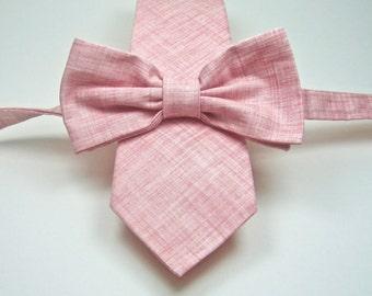 Blush Neckties Blush Ties Mens Neckties Blush Crosshatch Bow Tie Wedding Neckties  Pink Bow Ties Custom Neckties and Bow Ties