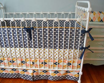 Aztec Crib Bedding- Arizona Tomahawk with metallic gold crib sheet and bumpers