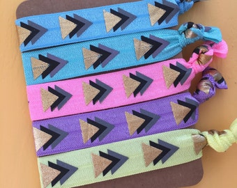 5 Pack 90s Neon Play Button Arrow Inspired Knot Hair Ties Fold Over Elastic Stretch Bracelet by Whimsical Elements
