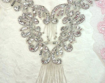 "Sequin Beaded Applique Silver Bodice Yoke Dance Pageant Costume Sewing Motif 10""  (0510-sl)"