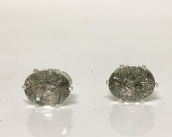 Tourmalinated Quartz 8x6mm 2.35ctw Sterling Silver Stud Gemstone earrings