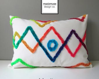 Colorful Outdoor Pillow Cover, Decorative Moroccan Pillow Cover, Sunbrella Cushion Cover, Bohemian Pillow Cover, Boucherouite, Mazizmuse