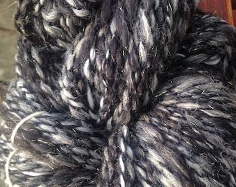 "152 Yards Handspun Merino/Alpaca/Silk Two Ply Yarn ""Midnight"""