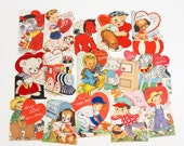 Vintage 1950s 60s Boy Theme Valentine Cards / Lot of 15 Folded USED Valentine Cards VGC / Collectible Ephemera Greeting Cards, Craft Supply