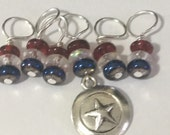 Captain America Knitting Stitch Markers