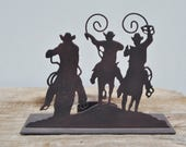 Rustic Metal Candle Holder . 3 Cowboys Riding Horses . Very Detailed . Western Home Decor . Boys . Girls Room