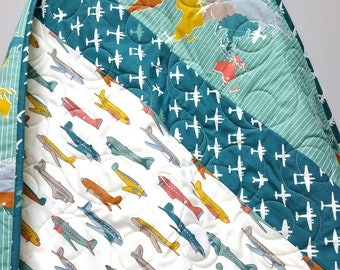 Organic Baby Quilt-Airplane-Teal Blue-Green-Crib Bedding-Modern Homemade Patchwork Baby Blanket-Birch Fabric