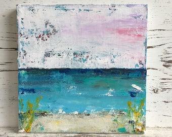 Beach painting, abstract beach painting, 10 x 10 beach scene, beach house decor, fine art, original acrylic painting