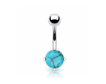 Surgical Steel Belly bar with set Turquoise Stone, Belly piercing, Body jewellery,  Belly ring, Surgical steel piercing, Tummy button, Tribu