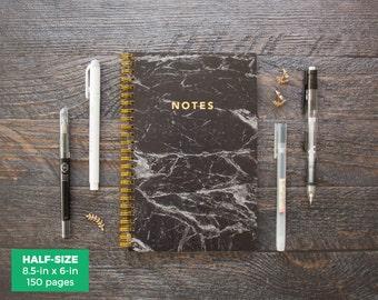 Black Marble Notebook / Half-size / Choose Gridded or Lined Pages