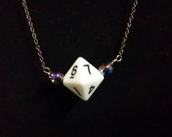 Gaming Dice Necklace - White