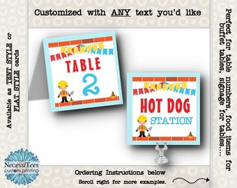 Table Number Cards, Buffet Table Cards, Table Signs, Construction Theme, Builder, Worker, Birthday Party, Baby Shower, With ANY Text