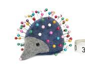 Pincushion, Hedgehog, upcycled wool, handmade, Heather Bluebonnet