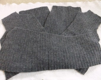 Felted Wool Heather Blue Sweater Remnants Ribbed Fabric Recycled Sewing Craft Project Supplies Mittens