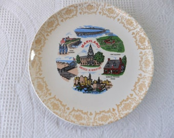 Vintage Maryland Souvenir State with Plate Gold Filigree Border Retro Decorative Collector Travel Vacation Kitsch