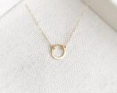 "Gold Karma 1/4"" Diameter Eternity Necklace - Dainty Circle Pendant - Everyday Simple - Minimal - Wedding Gift- Bridal - The Lovely Raindrop"