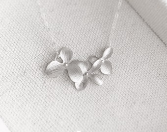 Triple Orchid Necklace in Silver - Perfect Gift - Dainty Flower Pendant - Wedding Jewelry - Bridal Jewelry Gift For - Simple Everyday