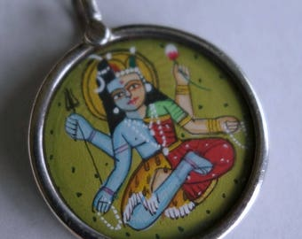 India Miniature Painting Vishnu Sterling Pendant