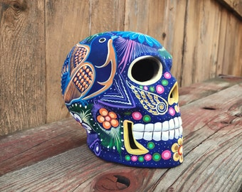 "Vintage 4"" tall hand-painted ceramic skull sculpture, Mexican folk art, Day of Dead sugar skull skeleton folk art, Mexican calavera art"
