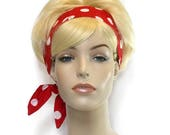 Red Headband, Red and White Polka Dots, Rockabilly Headband, Pin Up Headband, Wired Headband, Twist Headband, Head Bands for Women and Teens