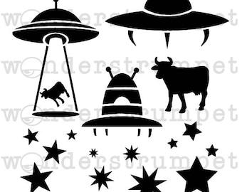UFO Stealing Cows Stencil
