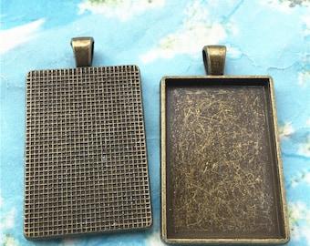 NEW--5pcs 48x28mm antiqued bronze rectangle picture/photo frams charms/pendants--(36x24mm incavity)