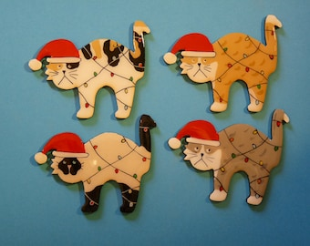 Christmas Siamese, Tabby or Calico Cat Pin, Magnet or Ornament-Free Shipping-Hand Painted