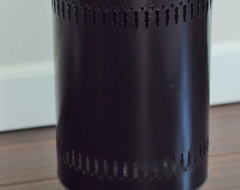 Atomic Mid Century Black Metal Hairpin Legs Trash Can-Black Space Age Trash Can