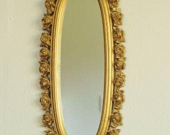 1970 Gold Resin Roses Oval Floral Wall Mirror-Hollywood Regency Mid Century NICE