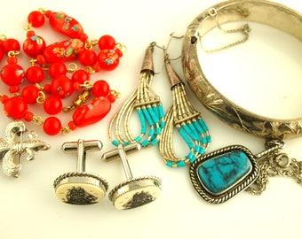 Bohemian Jewelry Lot - Native American Jewelry - Venetian Jewelry - Sterling Lot - Destash - Vintage