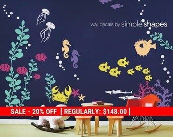 Holiday Sale - Kids Under the Sea Wall Decal, Fish Wall Decal, Coral Reef  Decals, Marine Life Wall Decal, Nursery Wall Decals