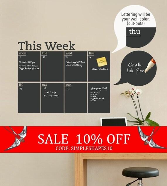 Sale - Weekly Planner Chalkboard Calendar - Modern Vinyl Wall Decal